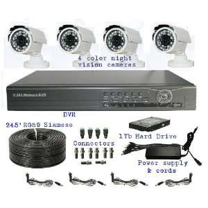 Surveillance Kit. 4 Color Display Night Vision Cameras, 1 Real