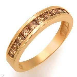 Wedding Band 10k yellow gold with Champagne Diamonds 1k Jewelry