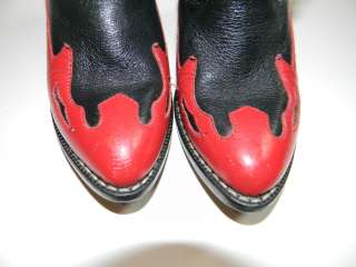 Leather Black Red Cowboy Boots Toddler Size 8 GUC