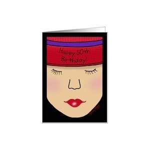 Red Hat Lady Face Birthday 50th Card Toys & Games