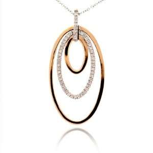 Pizzo 18kt Two Tone Gold Diamond Oval Pendant (.36 ct. tw.) Leo Pizzo