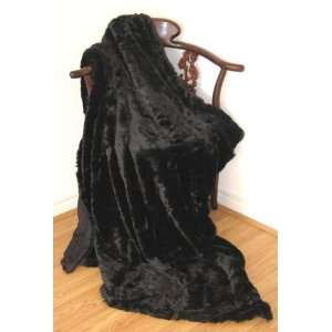 Ultra Soft Faux Fur Throw Blanket Black