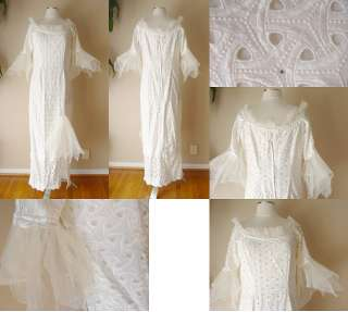 VINTAGE EYELET EMBROIDERED WHITE DRESS GOWN WEDDING COCKTAIL EVENING