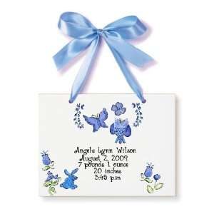 Birth Certificate Hand Painted Tile   Violet Butterflies