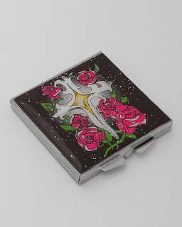 Black pink rose cross Tattoo Compact purse Mirror GIFT