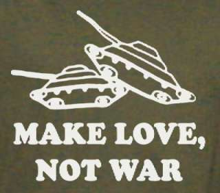 TANKS MAKE LOVE, NOT WAR soldier funny SHIRT 3X