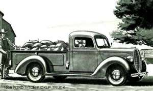 1938 FORD ~ 1 TON PICKUP TRUCK (BLACK AND WHITE) MAGNET