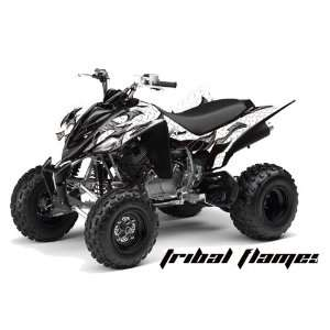 Yamaha Raptor 350 ATV Quad Graphic Kit   Tribal Flames White, Black