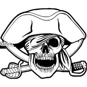 ONE EYED BANDANA PIRATE WITH SWORDS SKULL WHITE VINYL