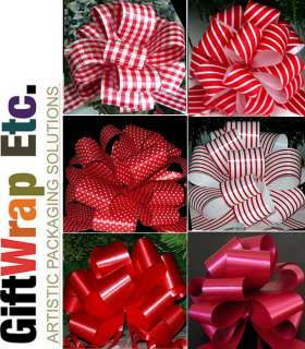 24 CHRISTMAS RED MIX GINGHAM STRIPE GIFT WRAP BASKET TREE PULL BOWS