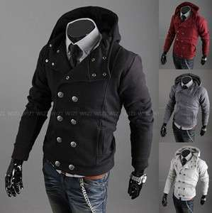 Winter Mens double breasted Thick Hoodies Slim Stylish Coat Jacket Sz