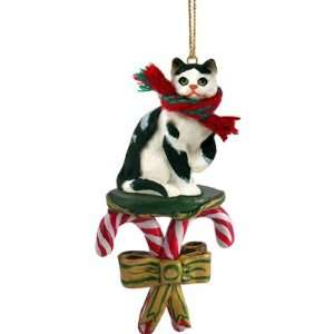 BLACK & WHITE CAT Tabby Short hair CANDY CANE Christmas Ornament NEW