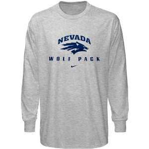 Nike Nevada Wolf Pack Ash Basic Logo Long Sleeve T shirt