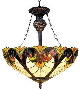 Victorian Tiffany Stained Glass Hanging/Pendant Lamp