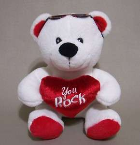 You Rock White Teddy Bear Plush Red Heart Dan Dee 12