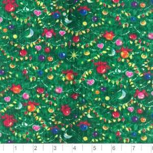 45 Wide Tiny Santas Christmas Tree Fabric By The Yard