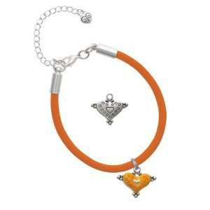 Hot Orange Enamel Heart with Circles Charm on an Orange Malibu Charm