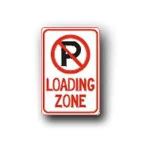 Metal traffic Sign 12x18 No Parking Loading Zone (W/ Symbol), Sign