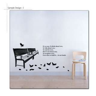 BENCH & LOVE QUOTE SAYING Vinyl Art Wall Decal Stickers