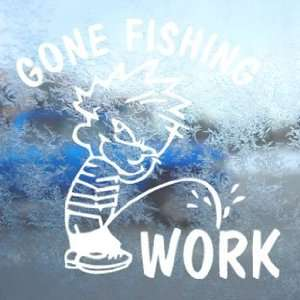 Funny Gone Fishing White Decal Car Window Laptop White