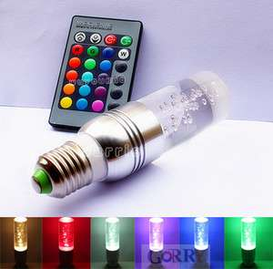 3W E27 Remote Control 16 Color Changing Flash RGB LED Crystal Light