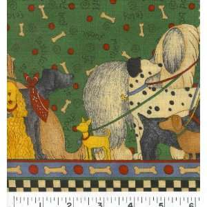 Wide WALK THE DOGS BOARDER Fabric By The Yard Arts, Crafts & Sewing