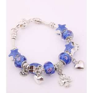 Fashion Jewelry Desinger Murano Glass Bead Bracelet with Star Pattern