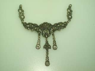 ANTIQUE ART DECO STERLING SILVER MARCASITE DANGLE DROP PENDANT
