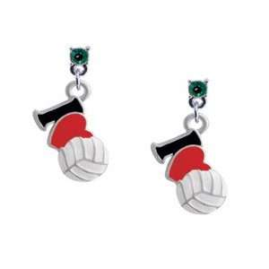 I Love Volleyball   Red Heart Emerald Swarovski Post Charm