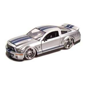 2008 Shelby Cobra GT 500KR 1/24 Silver w/Blue Stripes
