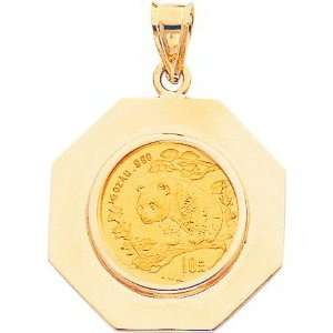 14K Yellow Gold 1/10oz Chinese Panda Coin & Bezel A Jewelry