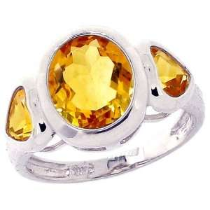 Gold Oval and Heart Three Stone Ring Citrine, size5 diViene Jewelry