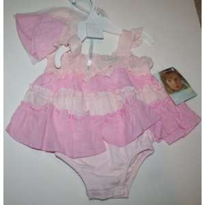 Kids Baby Girl 2 Piece Set Dress & Hat Size 3 Months Pink Baby