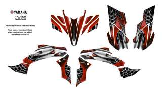 YAMAHA YFZ450 R/X 2009 11 Graphic Decals Kit 4444Red