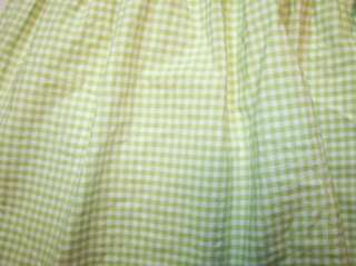 Pottery Barn Kids baby Nursery Green Gingham Crib skirt Dust Ruffle