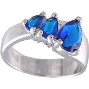 Sapphire Blue Cubic Zirconia Ring, Size 10 Jewelry