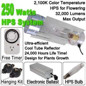 250 Watt HPS Grow Light Electronic Ballast Cool Tube Kit