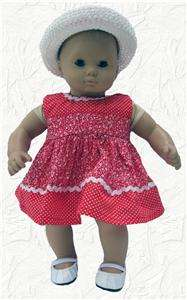Doll Clothes Red Dots and Flowers Dress w/Hat fits Bitty Baby & 15