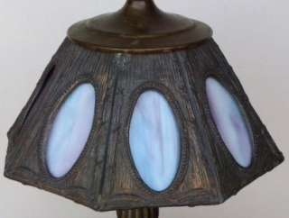 Antique Arts & Crafts 8 Panel Blue/Violet Slag Glass Lead Lamp Shade