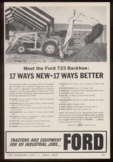 1962 Ford tractor 723 backhoe photo trade print ad
