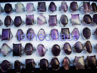 wholesale 20pcs oversize amethyst silver tone rings HOT