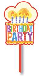 Happy Birthday Joy Party Cake with Candles Yard Sign Decoration