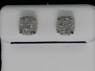 MENS WHITE GOLD .3C YELLOW DIAMOND CUBE STUD EARRINGS