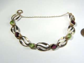 ANTIQUE ART NOUVEAU 9K GOLD PERIDOT GARNET BRACELET