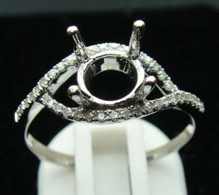 Solid 14K White Gold Diamond Semi Mount Engagement Ring
