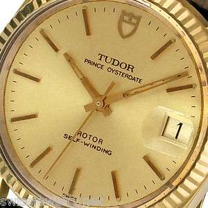 TUDOR PRINCE OYSTER AUTOMATIC 14K GOLD BEZEL MENS BLACK LEATHER DRESS
