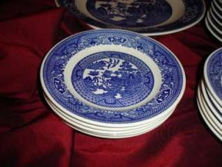 Vintage Lot Set 24 Piece Unmarked Blue Willow China Bowls Plates