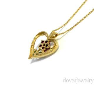 Estate Diamond Gold Ruby Emerald Flower Heart Pendant NR