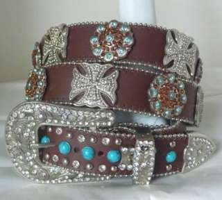 TURQUOISE BLUE TOPAZ CROSS CONCHO COWGIRL BLING LEATHER BELT XL