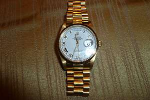 Mens ROLEX 18K GOLD PRESIDENT DAY DATE WATCH 18238 Pearl Dial Mint